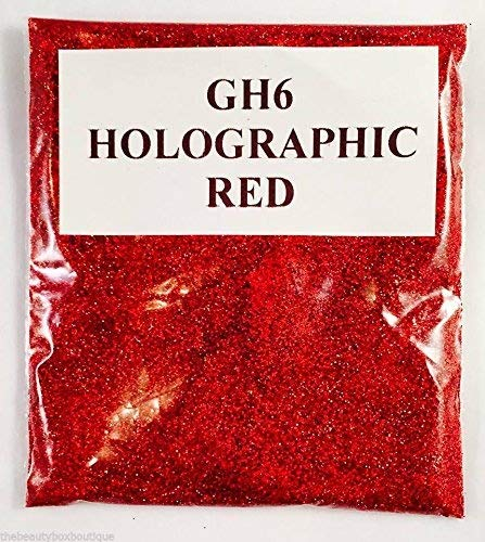(GH6 - Holographic Red 10g) Cosmetic Glitter Glitter Eyes Glitter Tattoo Glitter Lips Face And Body Bath Bombs Soap NA