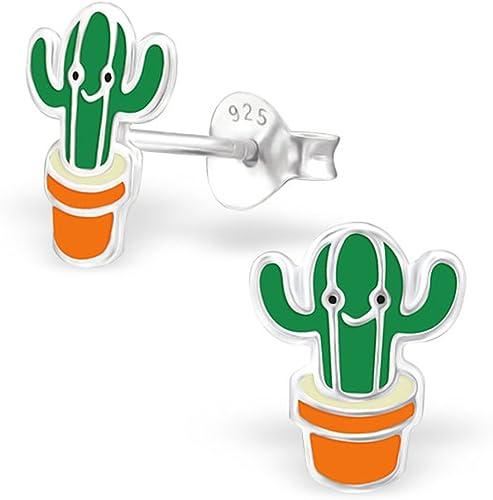Sterling Silver Stud Earrings Green Cubic Zirconia Earrings Birthday Gifts Tiny Silver Cactus Stud Earrings Dainty Minimalist Jewelry