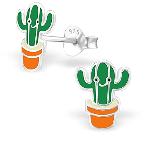 b8ff75a16 Amazon.com: Cute Cactus Studs Earrings Green Small Sterling Silver Girls  (E24623): Jewelry
