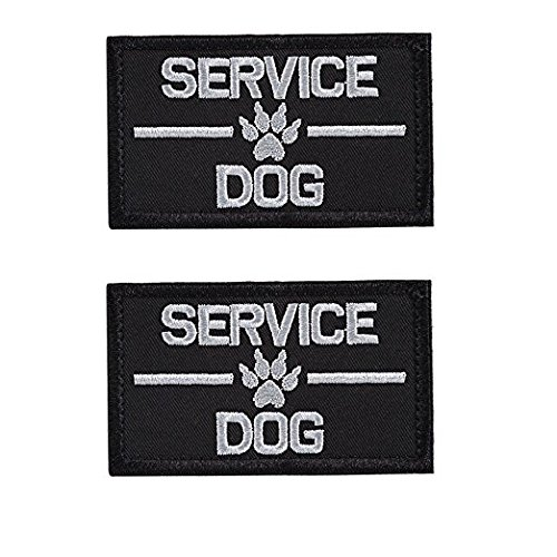 GrayCell Service Dog Embroidered Tactical Morale Patch for Dog Harness & Vest- Set of 2