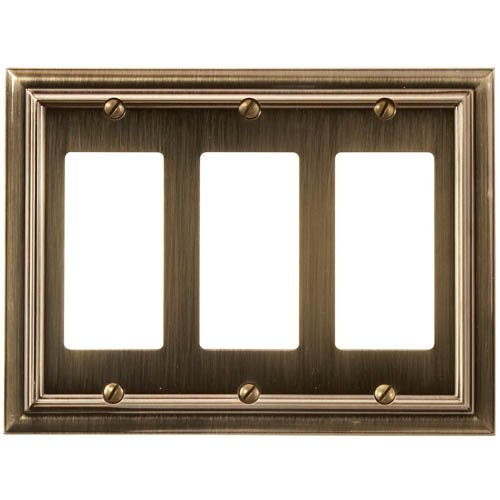 Amerelle 94RRRBB Continental Cast Metal Wallplate with 3 Rocker, Brushed Brass by Amerelle