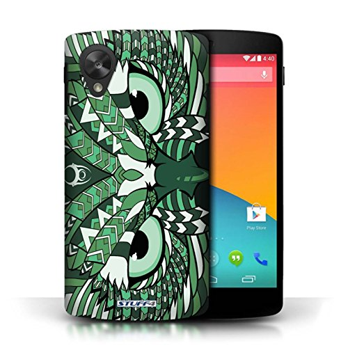 Coque de Stuff4 / Coque pour LG Google Nexus 5/D821 / Hibou-Vert Design / Motif Animaux Aztec Collection