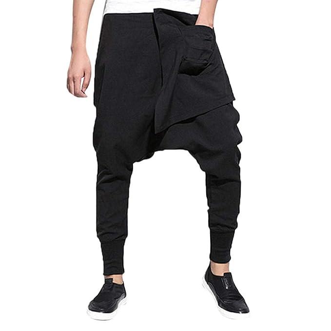 64a833971 Moda Hombre Color Puro Pantalones Ocio Deporte Hip-Hop Lápiz Pantalones  Pantalones Haren EláStico Hombre Corte Recto Estilo Liso Casual con  Perneras ...