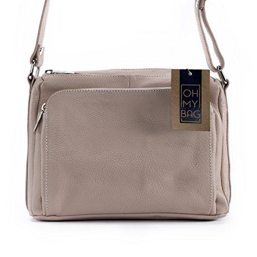 Oh My Bag - Sac à main ou à bandoulière en cuir, Femme - Modèle Mia - Collection New 2018 Rose