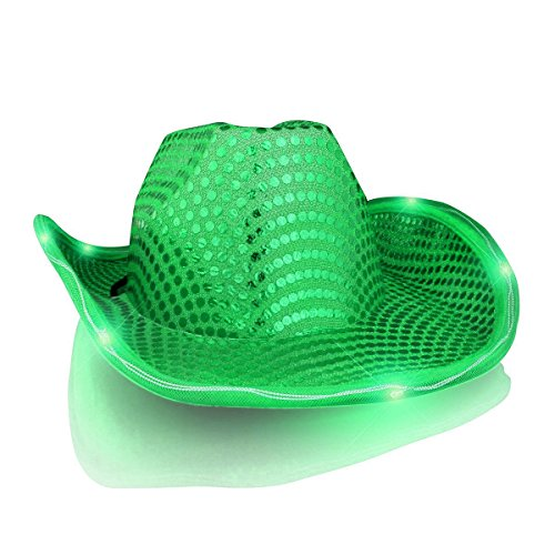 Price comparison product image LED Flashing Cowboy Hat with Green Sequins by blinkee