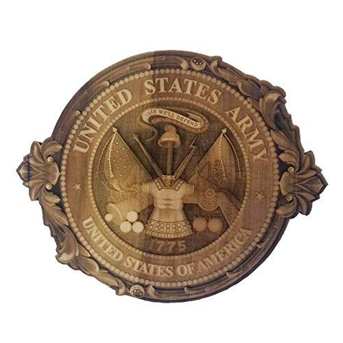 - 3D Engraved U.S Army Crest Cutout Hard Maple Wood Custom Made Military Emblem Veteran Memorabilia Patriotic Symbol Perfect Laser Gift (24
