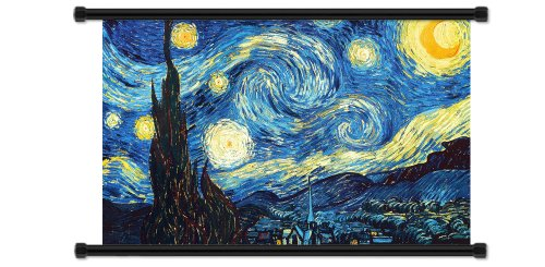 Vincent Van Gogh Starry Night Fabric Wall Scroll Poster  Inc