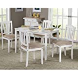 5piece wooden dining set 1 table u0026 4 chairs white - Rustic Dining Set