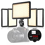 Led Video Light, Zecti 216 LED Low Beam and High Beam Dimmable Led Camera Light with Adjustable Color Temperature 3200-5600K for Canon, Nikon, Pentax, Panasonic, Sony, Samsung and Other Digital SLR