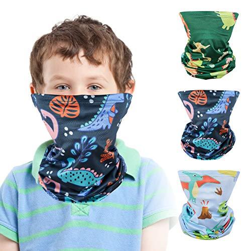 3 Pack Kids Sun UV Protection Face Bandanas Balaclava for 3-12 Years BoysGirls