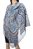 Pavlovo Posad Russian Shawl Pashmina Scarf Wrap Light Blue Green Cotton 57x57''