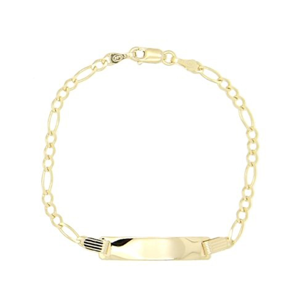 14kt Yellow Gold Bar Style Personalize Engravable Id Identification Bracelet for Child (2.5mm Chain) by Lgu