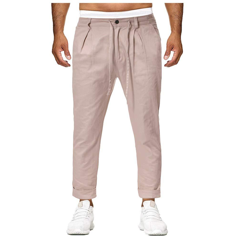 LINSINCH Pantalons Hommes Jogging Grande Taille Cargo Pantalon De D/écontract/é D/écontract/é Et Solide pour en Vrac Kaki Lin Slim Taille Elastique Blanc Bermudas