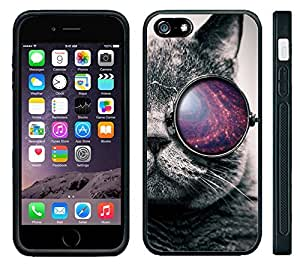 Apple iPhone 6 Black Rubber Silicone Case - Tumblr Cat Galaxy Glasses