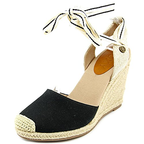 Roxy-Bolsa-Women-Open-Toe-Canvas-Black-Wedge-Sandal