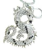 Sindary Austrian Crystal Art Style 2.36'' Unique Dragon Keychain Pendant K2980 (Silver-Tone Black Clear)