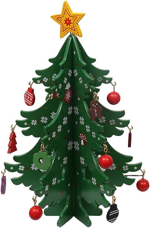 LIOOBO Mesa de Madera árbol de Navidad Miniatura Adornos para árboles de Navidad Tablero DIY artesanía con pequeño Adorno Colgante para decoración del hogar de Vacaciones Regalo para niños: Amazon.es: Hogar