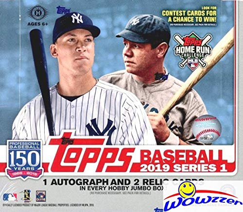 2019 Topps Series 1 MLB Baseball ENORMOUS HTA HOBBY Factory Sealed JUMBO Box with 460 Cards & THREE(3) AUTOGRAPH or RELIC Cards! Absolutely Loaded with ROOKIES, AWESOME INSERTS & PARALLELS! WOWZZER! -