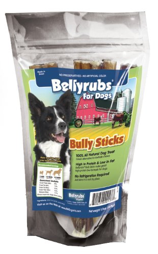Bellyrubs Organic 6-Inch Bully Stick Dog Treat, 4-Piece
