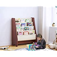 UTEX Kids Sling Bookshelf, Magazine Rack - Book Rack For Kids And Book Organizer for Adults, Mahogany