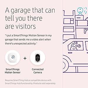 Samsung SmartThings Motion Sensor [GP-U999SJVLBAA] with Slim Design and Optional Automated Alerts – Zigbee – White