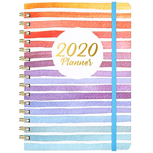 "2020 Planner - Weekly & Monthly Planner with Tabs, 6.3"" x 8.4"", Hardcover with Back Pocket + Thick Paper + Banded, Twin-Wire Binding - Colorful and Fun"