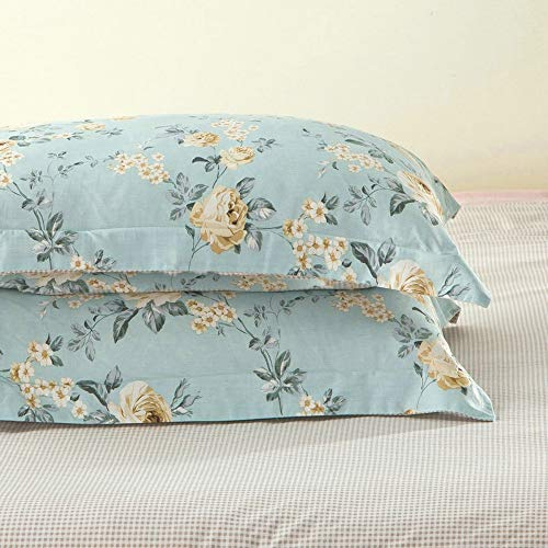 Pillow Sham Cotton Floral - TEALP Rose Printed Pillowcases Reversible Cotton Pillow Covers Girls Pillow Shams 100% Brushed Cotton Retro Floral Pattern Printed on Blue 20x30 Envelop Closure End Cream Baby Blue