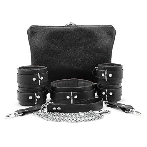 Macon Set Collar Wrist Cuffs Ankle Cuffs Chain Leash Full Grain Handmade Leather (Grey, Small) (Cuff Grain)