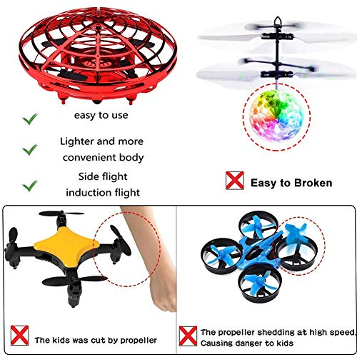 VIEE [Updated] Hand Operated Drone for Kids and Adults, UFO Flying Ball Drone Toys Mini Flying Ball Drone, Hand Controlled Helicopter Ball with 360°Rotating and Shinning LED Lights. (Red) by VIEE (Image #1)