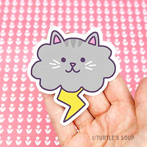 Cloud Cat, Cute Stickers, Funny Cat Stickers, Lightning Cat, Funny Decals, Vinyl Stickers, Weather Cats, Crazy Cat Lady, Laptop Stickers ()