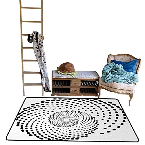 (Spires, Kids Carpet Playmat Rug, Minimalist Spiral Shape Dotted Monochrome with Swirling Twisting Helix Form Design, Floor Mat for Kids, W60 x L84 Inch, Black White)