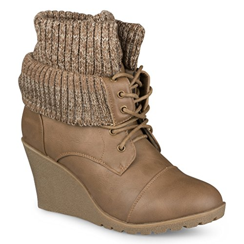 Fur Wedges (Twisted Women's DARLA Knit Cuff Wedge Bootie - DARLA01 TAUPE, Size 9)