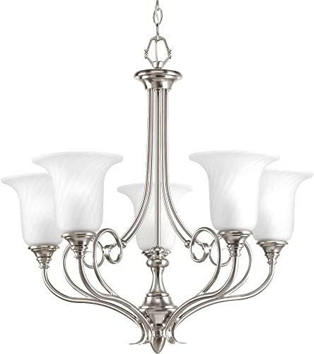 Progress Lighting P4238-09 Traditional Five Light Chandelier from Kensington Collection in Pwt, Nckl, B S, Slvr. Finish, Brushed Nickel