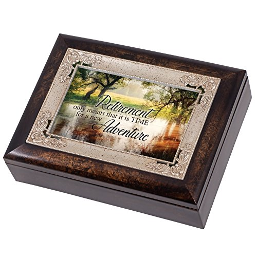 Retirement Wooded Pond Scene Italian Design Jewelry Music Box Plays Amazing Grace (Retirement Keepsake)