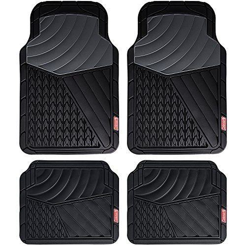 Coleman 4 Piece All-Weather Rubber Floor Mats – Premium Heavy Duty Full Set for Cars, Trucks, SUVs - Journeyman Class - Black