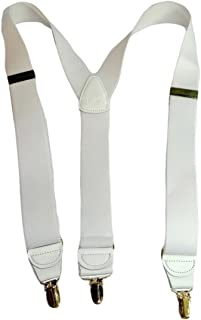 """product image for Hold-Ups Y-back All White Casual Series 1 1/2"""" wide with Patented No-slip Gold Clips"""