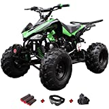 125cc ATV Kids ATV Youth ATV Quad 4 Wheelers Fully Assembled and Tested with X-Pro Gloves, Goggle and Handgrip (Black)