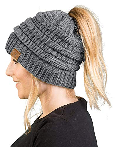 BT-6020a-51 Messy Bun Womens Winter Knit Hat Beanie Tail - Heather Grey