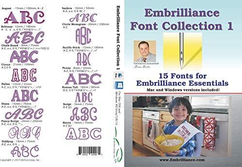 [해외]Embrilliance Font Collection Mac & PC 용 자수 소프트웨어 1개 / Embrilliance Font Collection Mac & PC 용 자수 소프트웨어 1개