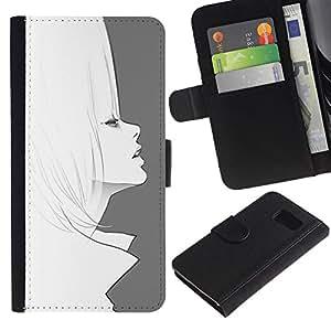 LASTONE PHONE CASE / Lujo Billetera de Cuero Caso del tirón Titular de la tarjeta Flip Carcasa Funda para Samsung Galaxy S6 SM-G920 / Art 60'S Fashion Hair Pencil Drawing