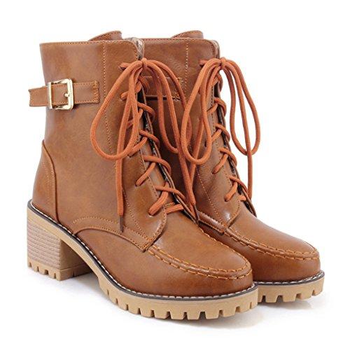 Stile Stile British c Studentessa Studentessa Studentessa e Martin Inverno Autunno Femminile Brown Versione Stivali TFZW7W