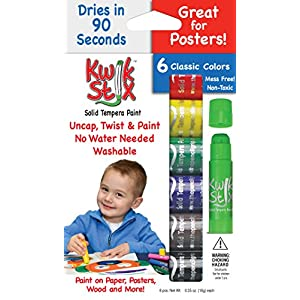 The Pencil Grip Kwik Stix Solid Tempera Paint, Super Quick Drying