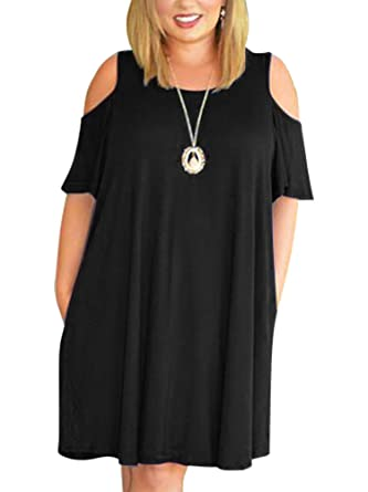 7a8f39cef4f Nemidor Women s Cold Shoulder Plus Size Casual T-Shirt Swing Dress with  Pockets (14W