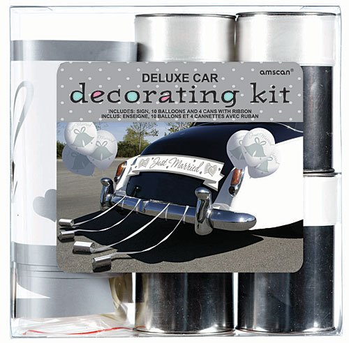 (Amscan 248896 Wedding Deluxe Car Decorating Kit, Multi Sizes, Multicolor)
