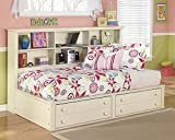 Cottage Retreat Vintage Casual Twin Size Bookcase Storage Bed in Cream Finish