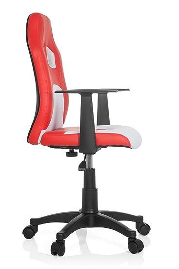 HJH Office - 670760 silla para niños TEEN RACER AL piel sintética / tejido rojo/blanco, ajuste de altura, con apoyabrazos, buen acholchado, ...