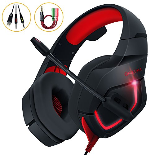 PC Gaming Headset, MillSO K1 Stereo Bass Surround Over-Ear Headphone with Adjustable Microphone, 3.5mm Audio Jack Y Cable Adapter, LED Light and Volume Control for PS4 Xbox one PC Nintendo Switch--Red