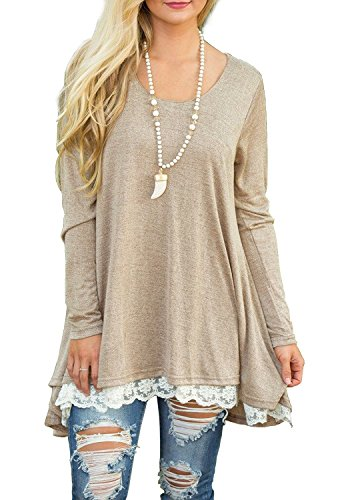 QIXING Women's Lace Long Sleeve Tunic Top Blouse Beige-M