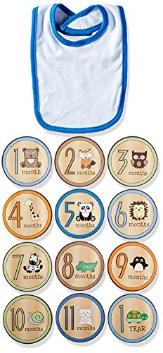 Lovespun Baby Boys' Perfect Picture 2 Piece Bib and Milestone Sticker Set, Animal, One Size