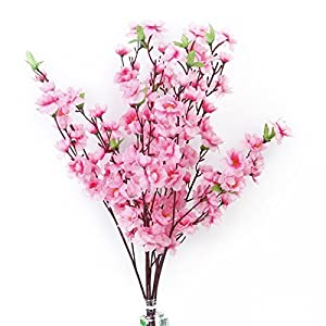 Tinksky 6pcs Peach Blossom Simulation Flowers Artificial Flowers Silk Flower Decorative Flowers Wreaths (Pink) 81